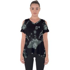 Surfboard With Dolphin, Flowers, Palm And Turtle Cut Out Side Drop Tee