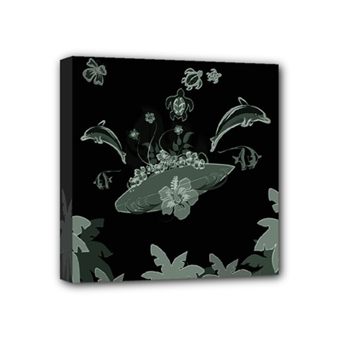 Surfboard With Dolphin, Flowers, Palm And Turtle Mini Canvas 4  X 4