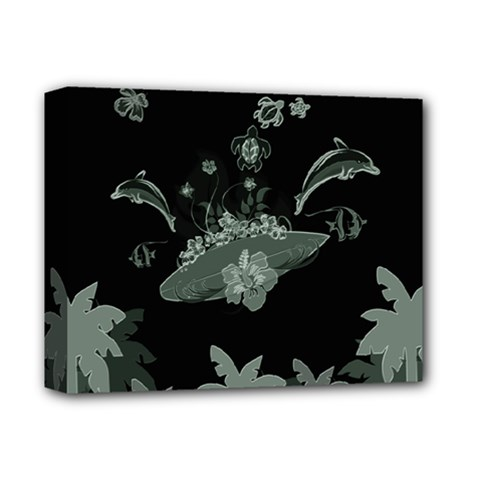 Surfboard With Dolphin, Flowers, Palm And Turtle Deluxe Canvas 14  X 11