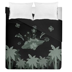 Surfboard With Dolphin, Flowers, Palm And Turtle Duvet Cover Double Side (queen Size)