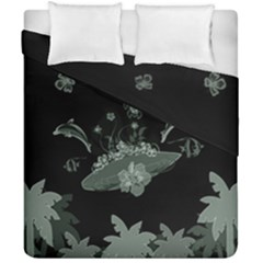 Surfboard With Dolphin, Flowers, Palm And Turtle Duvet Cover Double Side (california King Size)