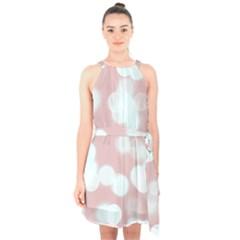 Soft Lights Bokeh 5 Halter Collar Waist Tie Chiffon Dress
