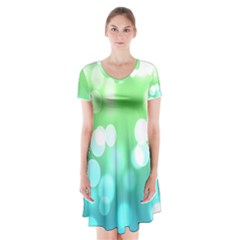 Soft Lights Bokeh 2 Short Sleeve V Neck Flare Dress