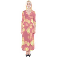 Soft Lights Bokeh 4b Quarter Sleeve Wrap Maxi Dress