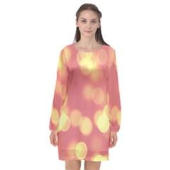 Soft Lights Bokeh 4b Long Sleeve Chiffon Shift Dress