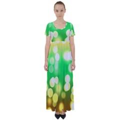 Soft Lights Bokeh 3 High Waist Short Sleeve Maxi Dress