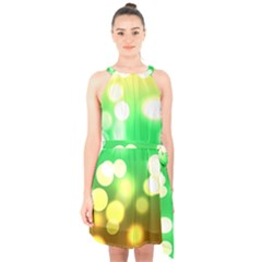 Soft Lights Bokeh 3 Halter Collar Waist Tie Chiffon Dress