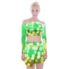 Soft Lights Bokeh 3 Off Shoulder Top With Mini Skirt Set