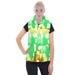 Soft Lights Bokeh 3 Women s Button Up Puffer Vest