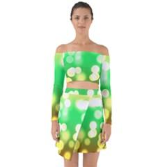 Soft Lights Bokeh 3 Off Shoulder Top With Skirt Set