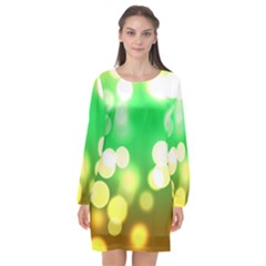 Soft Lights Bokeh 3 Long Sleeve Chiffon Shift Dress