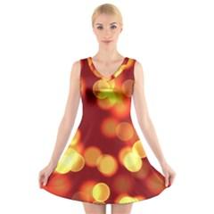 Soft Lights Bokeh 4 V Neck Sleeveless Skater Dress