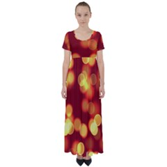 Soft Lights Bokeh 4 High Waist Short Sleeve Maxi Dress
