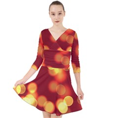 Soft Lights Bokeh 4 Quarter Sleeve Front Wrap Dress
