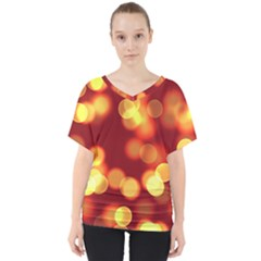 Soft Lights Bokeh 4 V Neck Dolman Drape Top