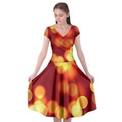 Soft Lights Bokeh 4 Cap Sleeve Wrap Front Dress