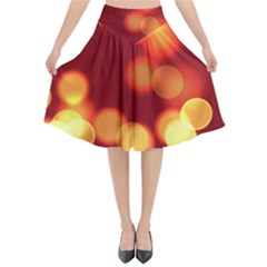 Soft Lights Bokeh 4 Flared Midi Skirt