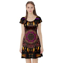 A Flaming Star Is Born On The  Metal Sky Short Sleeve Skater Dress