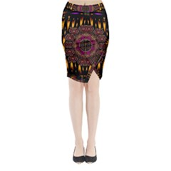 A Flaming Star Is Born On The  Metal Sky Midi Wrap Pencil Skirt