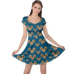 Cartoon Animals In Gold And Silver Gift Decorations Cap Sleeve Dress