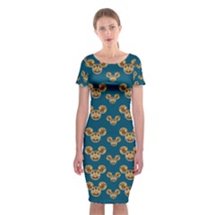 Cartoon Animals In Gold And Silver Gift Decorations Classic Short Sleeve Midi Dress