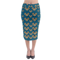 Cartoon Animals In Gold And Silver Gift Decorations Midi Pencil Skirt