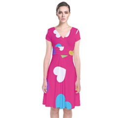 Valentine s Day Pattern Short Sleeve Front Wrap Dress