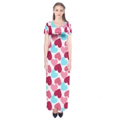Bold Valentine Heart Short Sleeve Maxi Dress