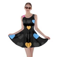 Emo Heart Pattern Skater Dress