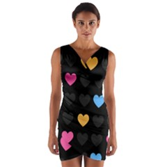 Emo Heart Pattern Wrap Front Bodycon Dress
