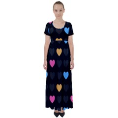 Emo Heart Pattern High Waist Short Sleeve Maxi Dress