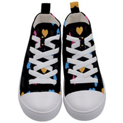 Emo Heart Pattern Kid s Mid Top Canvas Sneakers
