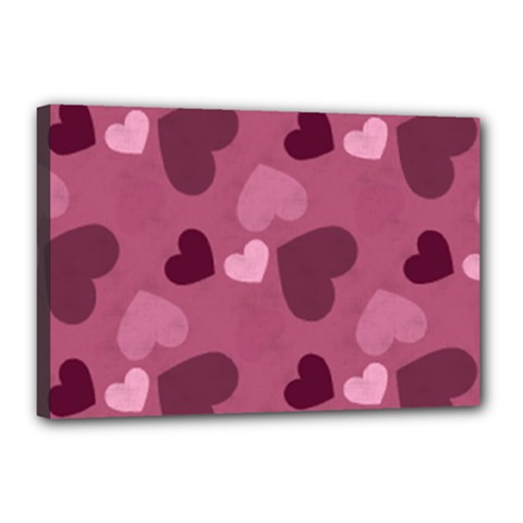 Mauve Valentine Heart Pattern Canvas 18  X 12