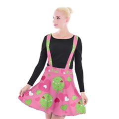 Monster Love Pattern Suspender Skater Skirt