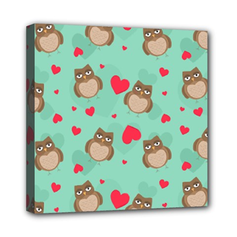 Owl Valentine s Day Pattern Mini Canvas 8  X 8