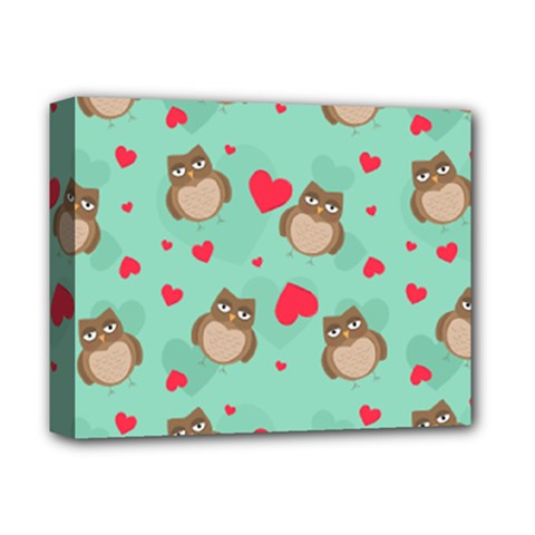 Owl Valentine s Day Pattern Deluxe Canvas 14  X 11