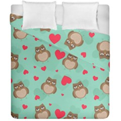 Owl Valentine s Day Pattern Duvet Cover Double Side (california King Size)