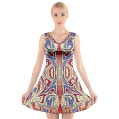 Symbols Pattern V Neck Sleeveless Skater Dress