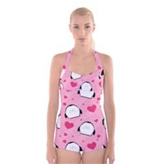 Penguin Love Pattern Boyleg Halter Swimsuit