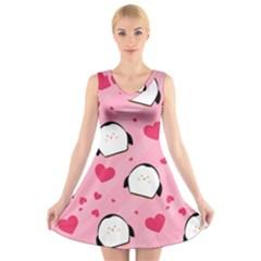 Penguin Love Pattern V Neck Sleeveless Skater Dress