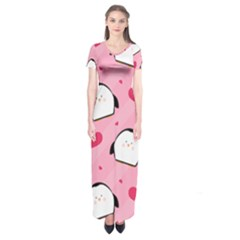 Penguin Love Pattern Short Sleeve Maxi Dress