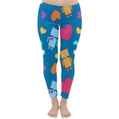Robot Love Pattern Classic Winter Leggings