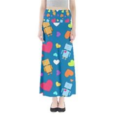 Robot Love Pattern Full Length Maxi Skirt
