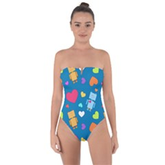 Robot Love Pattern Tie Back One Piece Swimsuit
