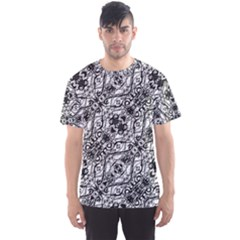 Black And White Ornate Pattern Men s Sports Mesh Tee