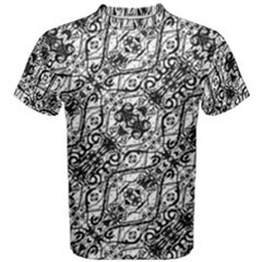 Black And White Ornate Pattern Men s Cotton Tee