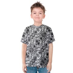 Black And White Ornate Pattern Kids  Cotton Tee