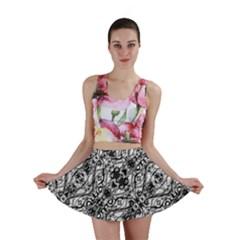 Black And White Ornate Pattern Mini Skirt