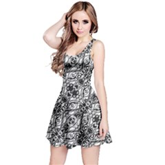 Black And White Ornate Pattern Reversible Sleeveless Dress