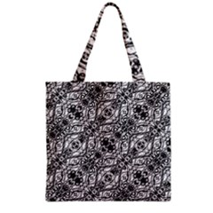 Black And White Ornate Pattern Grocery Tote Bag